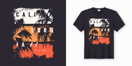Illustration for California Ocean side stylish t-shirt and apparel trendy design with palm trees silhouettes, typography, print, vector illustration. Global swatches. - Royalty Free Image