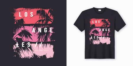 Illustration pour Los Angeles Malibu Lagoon stylish t-shirt and apparel trendy design with palm trees silhouettes, typography, print, vector illustration. Global swatches. - image libre de droit