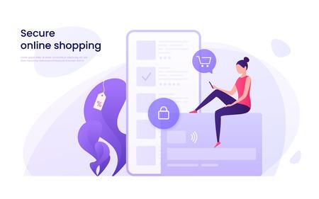 Illustration pour Secure online shopping - image libre de droit