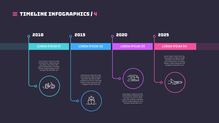Illustration pour Thin line timeline minimal infographic concept with four periods of time. Vector template for web, presentations, reports, visualizations. Editable stroke. - image libre de droit