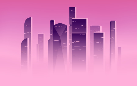 Illustration pour Minimalist vector illustration of a skyscrapers above the clouds, city highrises in a misty fog. - image libre de droit