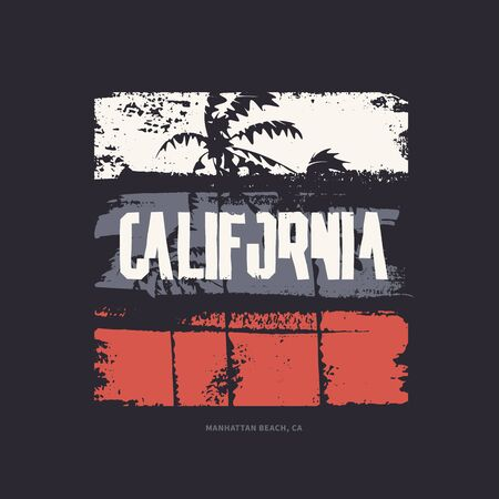 Graphic t-shirt design on the topic of California. Vector illustration