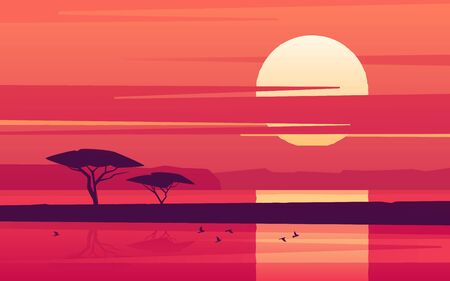 Illustration for Vivid sunset over the african lake. Vector illustration - Royalty Free Image