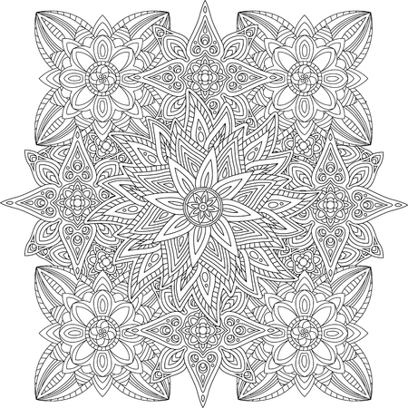 Coloring book page with beautiful linear floral pattern