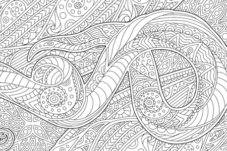 Illustration pour Beautiful coloring book page with monochrome waving abstract pattern - image libre de droit
