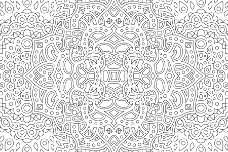 Illustration pour Coloring book page with beautiful abstract monochrome pattern - image libre de droit
