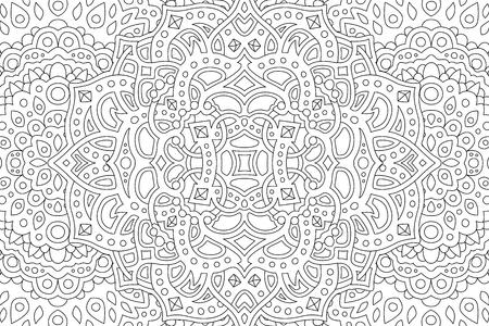 Ilustración de Coloring book page with beautiful abstract monochrome pattern - Imagen libre de derechos