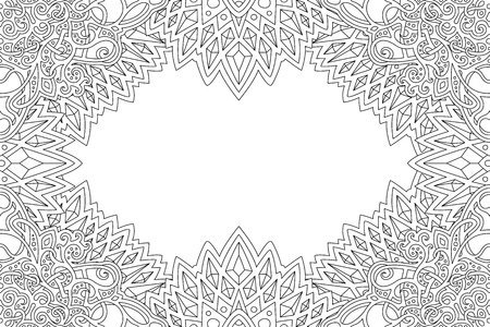 Illustration for Beautiful coloring book page with monochrome detailed border and copy space - Royalty Free Image