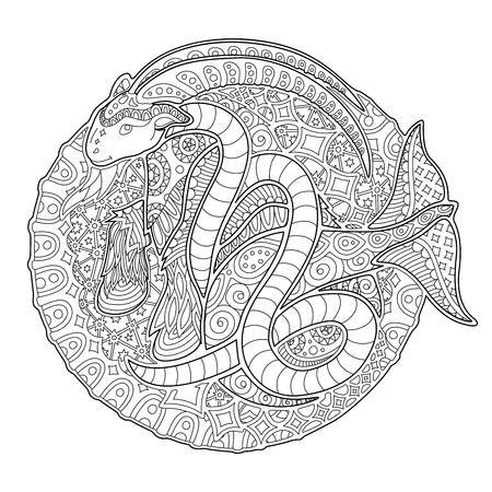 Illustration pour Beautiful coloring book page with monochrome decorative capricorn on white background - image libre de droit