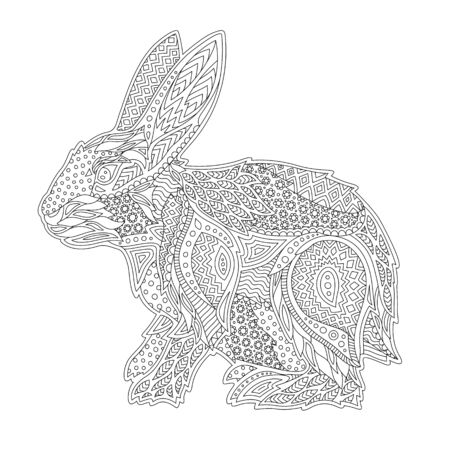 Illustration pour Beautiful linear monochrome illustration for coloring book with stylized rabbit on white background - image libre de droit