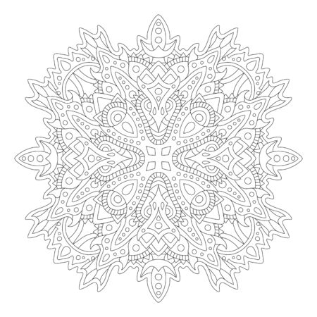 Illustration for Beautiful monochrome illustration for adult coloring book page with linear abstract pattern isolated on the white background - Royalty Free Image