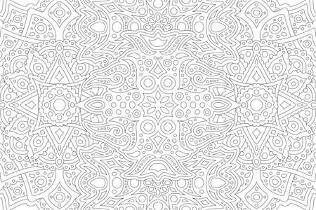 Illustration pour Beautiful black and white illustration for adult coloring book with abstract eastern linear pattern - image libre de droit
