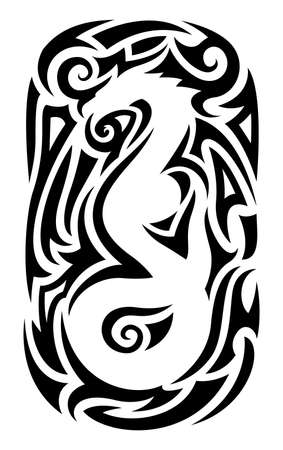 Illustration pour Beautiful tribal tattoo illustration with isolated abstract black pattern around white chinese dragon silhouette - image libre de droit