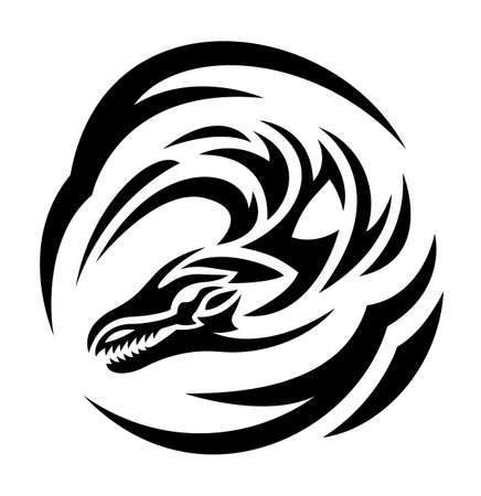 Illustration pour Beautiful monochrome tattoo illustration with black stylized dragon head isolated on the white background - image libre de droit