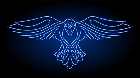 Illustration for Beautiful linear illustration with neon blue shiny stylized raven silhouette on the dark background - Royalty Free Image