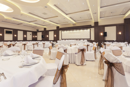 Banquet hall decorated for special occasion