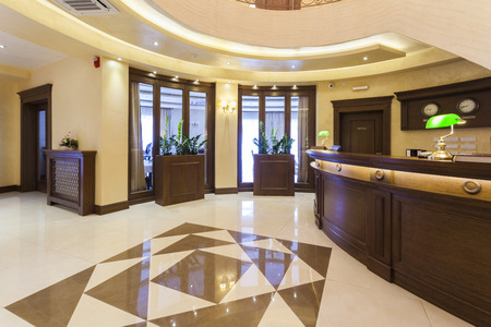 Luxury hotel lobby with reception desk