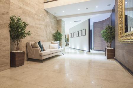 Elegant luxury hotel corridor