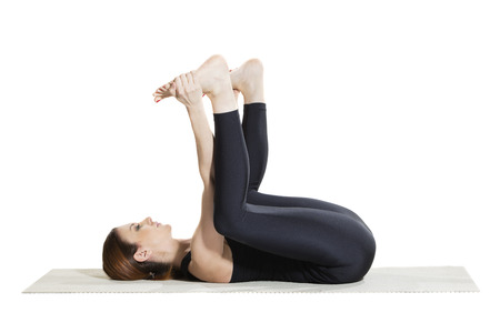 Photo pour Happy Baby Yoga Pose - Ananada Balasana - image libre de droit