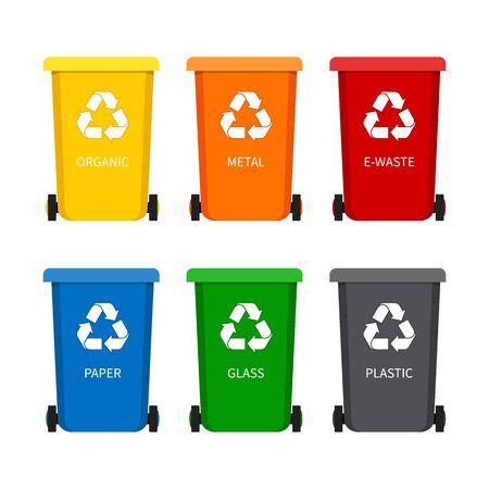 Illustration pour Garbage bin with recycle icon for trash. Container dustbin for paper, plastic, glass, organic, e-waste in flat style.Set of containers for garbage. vector illustration - image libre de droit