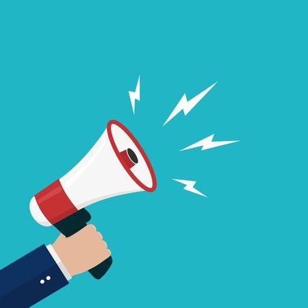 Illustration pour Cartoon hand holding loudspeaker, loud voice horn, megaphone.Flat banner with person shout message.Sound from megaphone for social media, promote business, public.Blue background vector illustration - image libre de droit