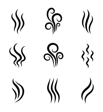 Illustration pour Aromas, smell vaporize icon. Outline symbols smoke, cooking steam odour, fume of flame. Hot aroma odors signs set. Wave of stench isolated. vector abstract illustration - image libre de droit
