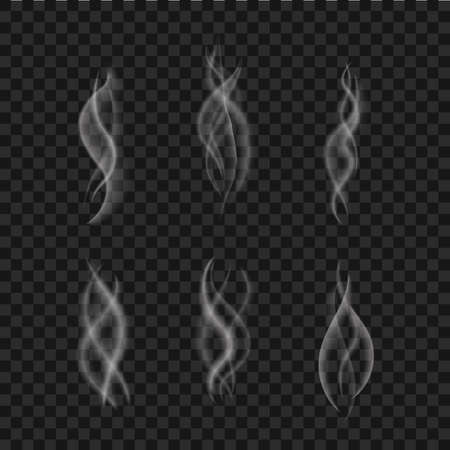 Illustration pour Smoke effect isolated. Steam from cup coffee, hot food. Realistic white vapor collection. Aroma swirl of tea. Mist effect. Flame of fire texture. Smoke motion on black background. vector illustration - image libre de droit