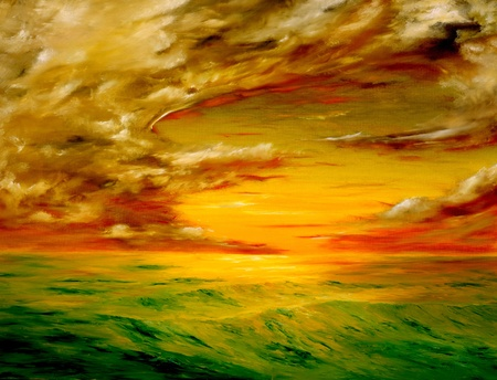 Photo for original oil painting of the Beautiful sunset off the coast of california - Royalty Free Image