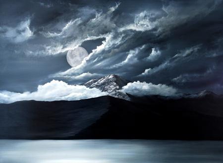 Foto de Original Oil Painting of the Moon over lake Tahoe - Imagen libre de derechos