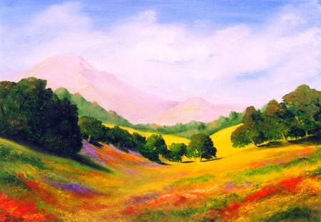 Photo for Beautiful Original Oil Painting Landscape On Canvas - Royalty Free Image