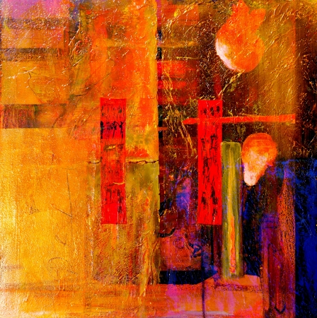 Photo for  Original Oil painting,Oil and Mixed media on Canvas - Royalty Free Image