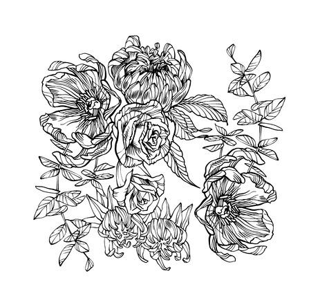 Illustration pour Vector illustration of flowers. Floral artwork - image libre de droit