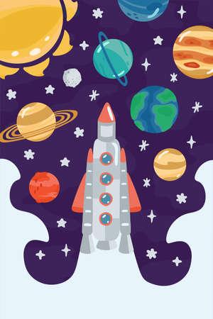 Illustration pour Space children's poster with rocket, planets in cartoon style. Cute concept for kids print. Illustration for design kids room postcard, textiles, apparel. Vector - image libre de droit