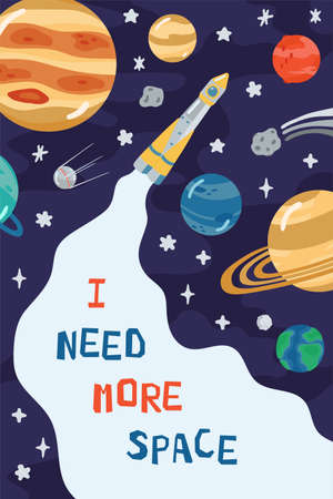 Illustration pour Space children's poster with rocket, planets and lettering I need more space in cartoon style. Cute concept for kids print. Illustration for design kids room postcard, textiles, apparel. Vector - image libre de droit