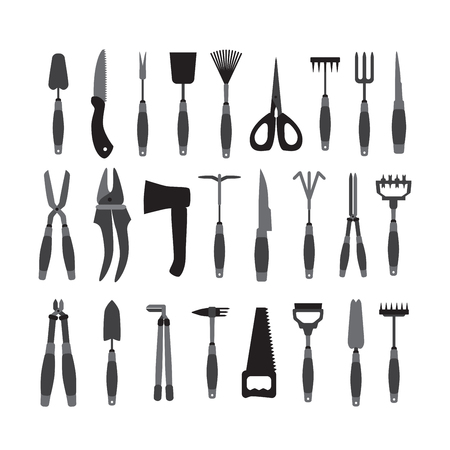 Set Of Various Gardening Tools Isolated On White Background