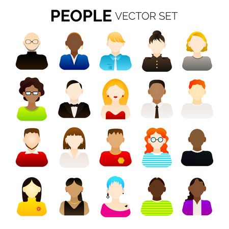 Illustration for Set of  various vector cartoon people. Various avatars. Vector illustration for your graphic design. - Royalty Free Image