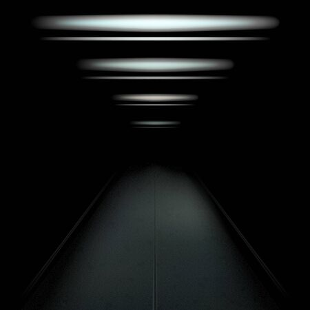 Dark and empty tunnel with dim light. Vector illustration for your graphic design.