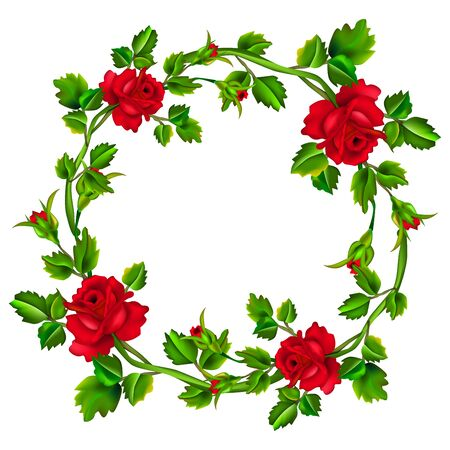 Illustration pour Flower frame isolated on white background. Red rose wreath. Roses with leaves in circle with place for the text or image. Mesh. - image libre de droit