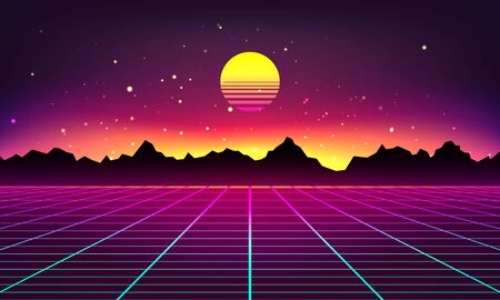 Illustration pour Retro futuristic abstract background made in 80s style. Abstract background with neon grids and mountains silhouette in vintage style. Vector illustration for your graphic design. - image libre de droit