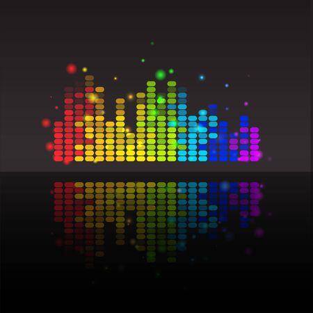 Illustration for Abstract equalizer with reflection colorful background. Vector illustration for your graphic design. - Royalty Free Image