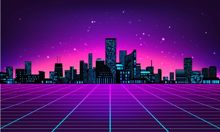 Illustration for Retro futuristic abstract background made in 80s style. Abstract background with neon grids city silhouette in vintage style. Vector illustration for your graphic design. - Royalty Free Image