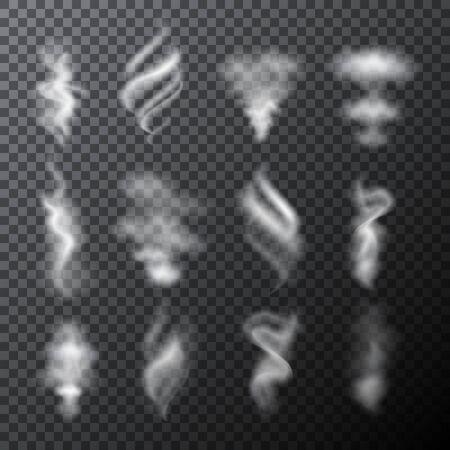 Illustration pour Set of half transparent vector white clouds or smoke elements. Vector illustration for your graphic design. - image libre de droit