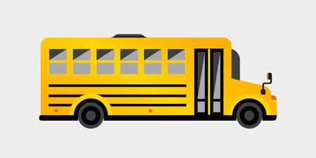 Illustration for Simple yellow school bus. Vector illustration for your graphic design. - Royalty Free Image