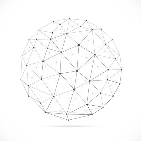 Illustration pour Vector dimensional white polygonal sphere with shadow isolated on white background. Vector illustration for your graphic design. - image libre de droit