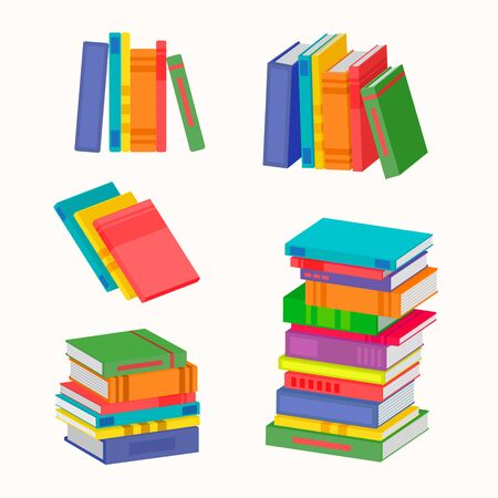 Illustration pour Set of various piles of colorful books. The big stack of colorful books. Vector illustration for your graphic design. - image libre de droit