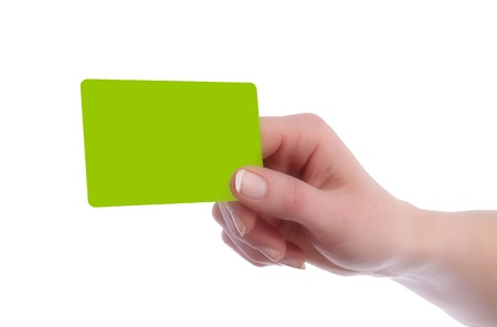 Card in format of Credit Card in Hand of a woman