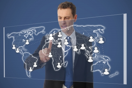 Businessman with network on a worldmap