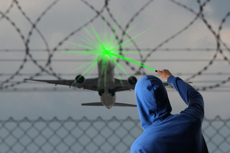 A Starting Airplane blinded with a Laserpointer