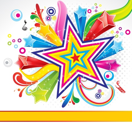 abstract colorful explode background with star vector illustration