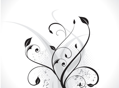 abstract floral with wave & grunge vector illustratation